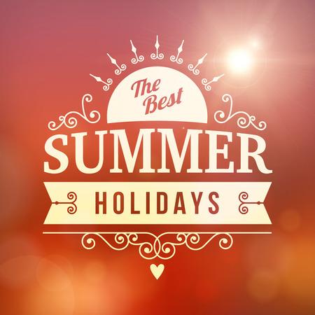 best background: best Summer holidays curl sun poster on sunset blurred vector background