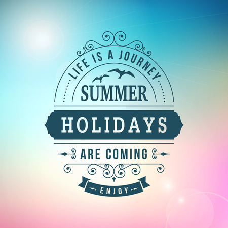 best Summer holidays are coming curl poster on sun blurred vector background