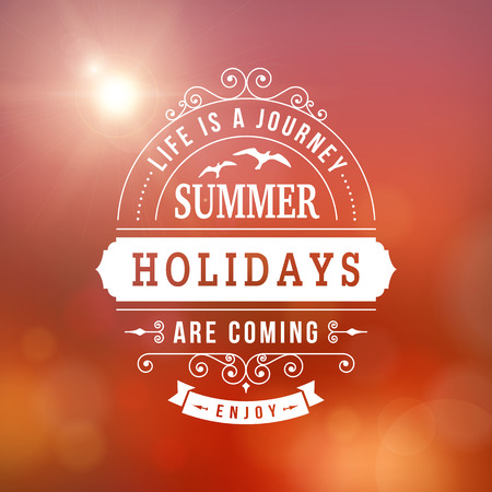 resort: Summer holidays poster on sunset blurred vector background Illustration