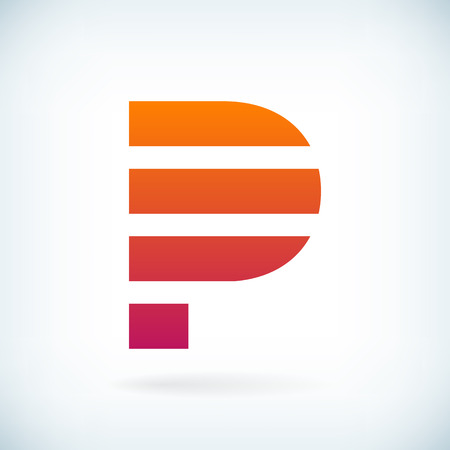 stripes letter P icon design element template. isolated. Ilustrace