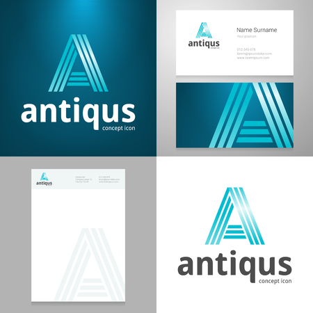 alphabet letter a: Design icon letter A element with Business card and paper template. Layered, editable.