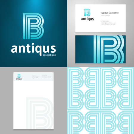 letter b: Design icon letter B element with Business card and paper template. Layered, editable. Illustration