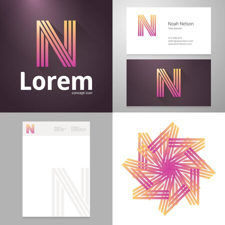 business letters: Design icon letter N element with Business card and paper template. Layered, editable.