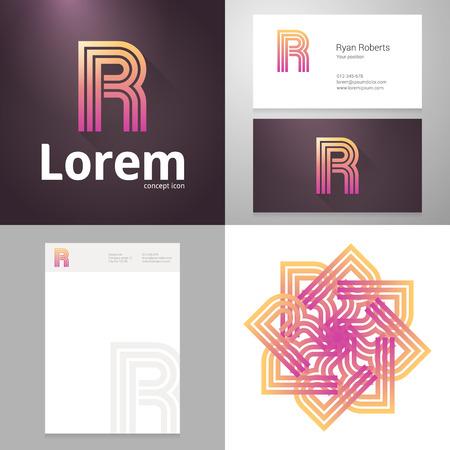 papier lettre: Conception ic�ne lettre �l�ment de R avec la carte d'affaires et le mod�le de papier. Layered, modifiable. Illustration