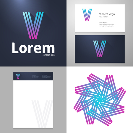 v shape: Design icon letter V element with Business card and paper template. Layered, editable. Illustration