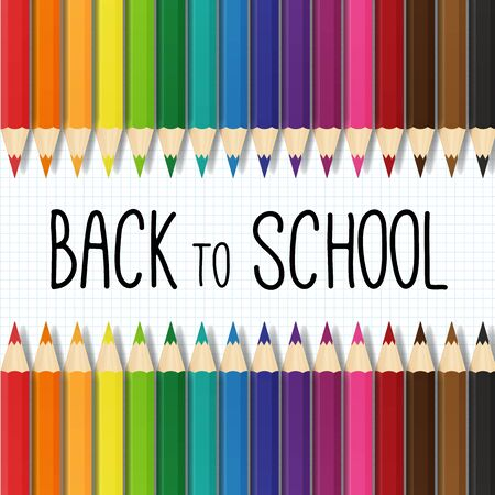 back to school illustration with colorful pencils  イラスト・ベクター素材
