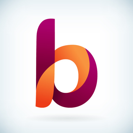 letter b: Modern twisted letter B icon design element template Illustration