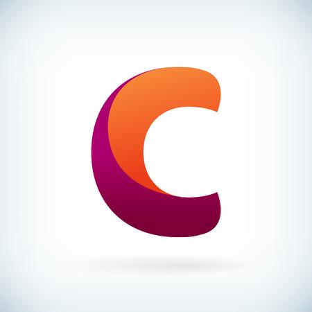 papier a lettre: Moderne torsadée lettre C icône élément de design modèle Illustration
