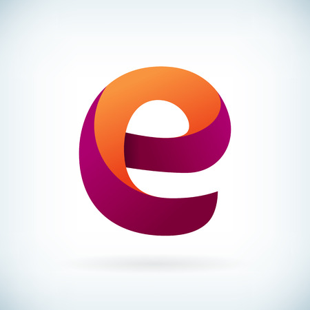 letter art: Modern twisted letter E icon design element template