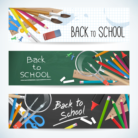 Back to school. Set vector banner with school supplies. isolated.