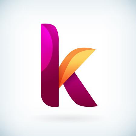 papier a lettre: Moderne torsadée lettre k icône élément de design modèle Illustration
