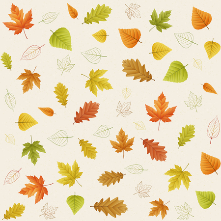 chokeberry: Autumn seamless vector leaf pattern on paper
