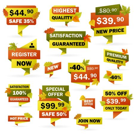 editable: Set business autumn price labels and banners with colored leafs. editable. vector Illustration