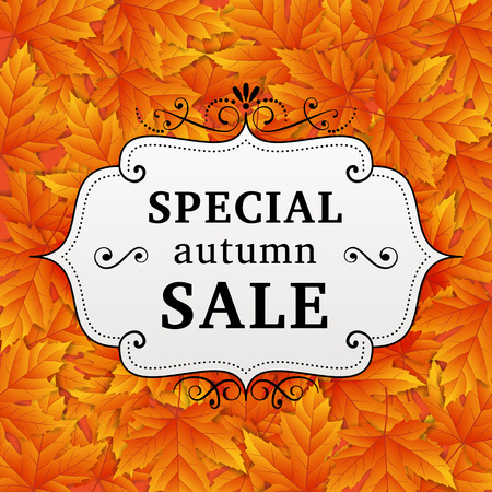 business background: Seasonal special autumn sale business background with colored leafs. editable. vector. Illustration