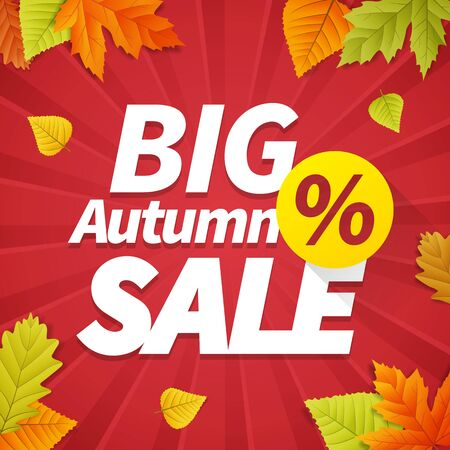 big leafs: Seasonal big autumn sale business background with colored leafs. editable. vector.