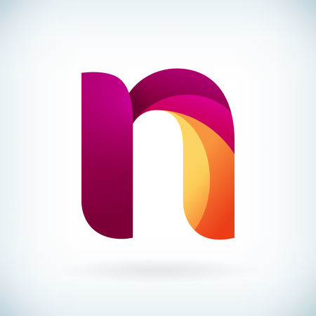 Modern twisted letter n icon design element template  イラスト・ベクター素材