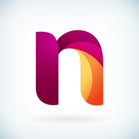 papier a lettre: Moderne torsadée lettre n icône élément de design modèle
