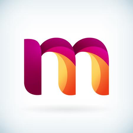 papier a lettre: Moderne torsadée lettre m icône élément de design modèle