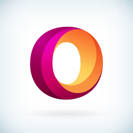 3d alphabet letter abc: Modern twisted letter o icon design element template Illustration