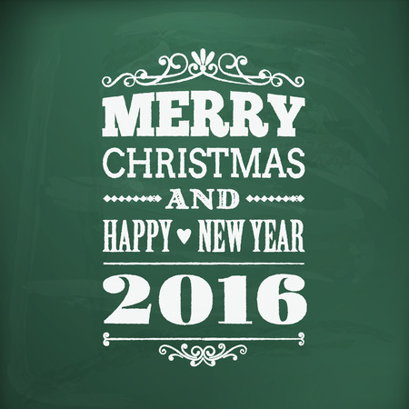 merry christmas: merry christmas and happy new year 2016 write on chalkboard Illustration