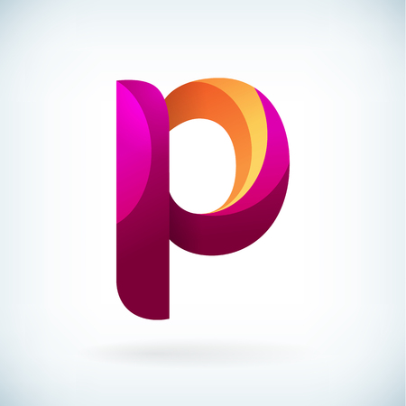 Modern twisted letter p icon design element template Vectores