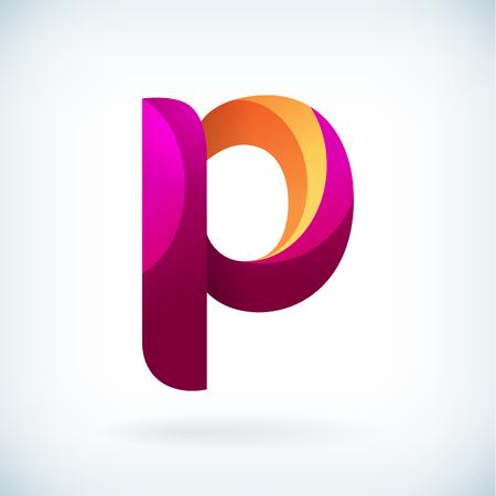 papier a lettre: Moderne lettre torsadée icône p élément de design modèle