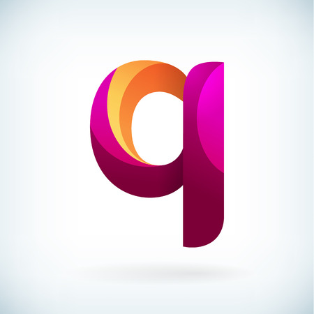 business letters: Modern twisted letter q icon design element template Illustration