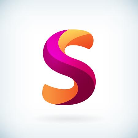 lettre s: Icone élément de conception de modèle de lettre moderne torsadée Illustration