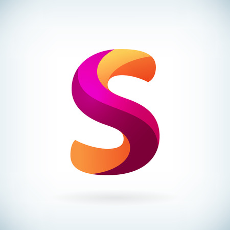 letter s: Modern twisted letter s icon design element template Illustration