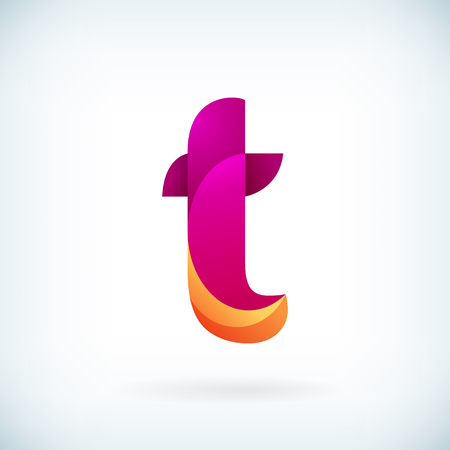 medical symbol: Modern twisted letter t icon design element template
