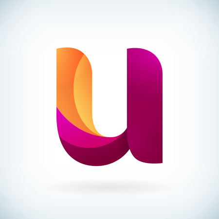 Modern twisted letter u icon design element template