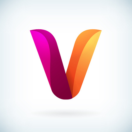 v shape: Modern twisted letter v icon design element template Illustration