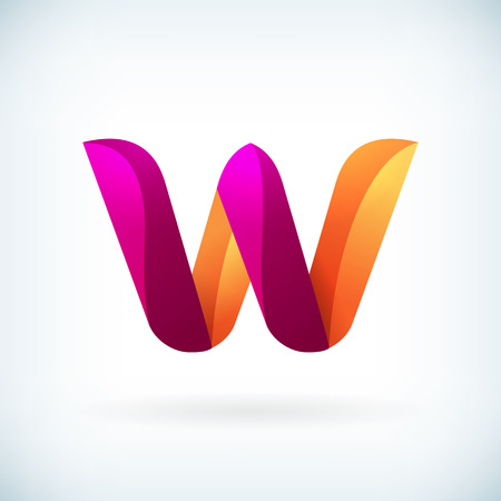 letter w: Modern twisted letter w icon design element template Illustration