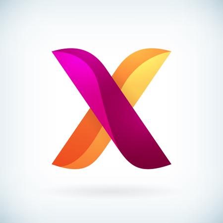 orange banner: Modern twisted letter x icon design element template