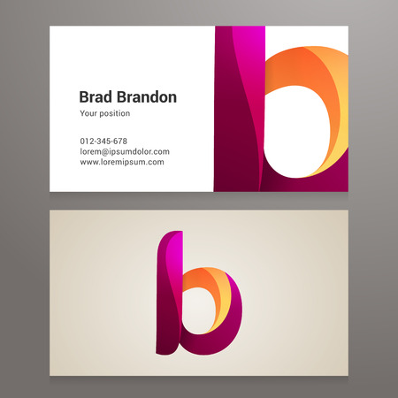 Modern letter B twisted colorful Business card template. Vector design. Layered, editable.