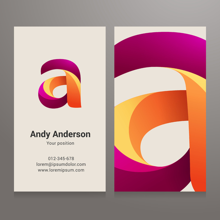 Modern letter A twisted colorful Business card template. Vector design. Layered, editable.  イラスト・ベクター素材
