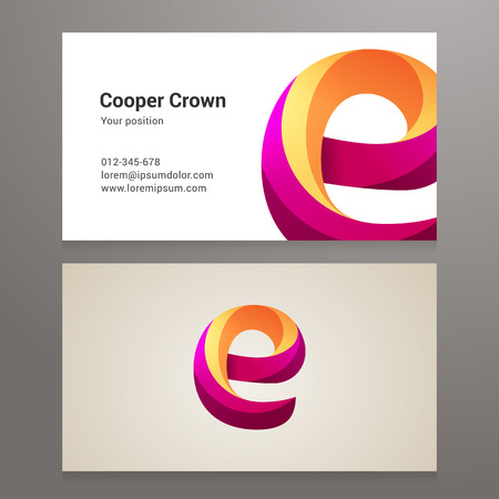 e card: Modern letter E twisted colorful Business card template. Vector design. Layered, editable. Illustration