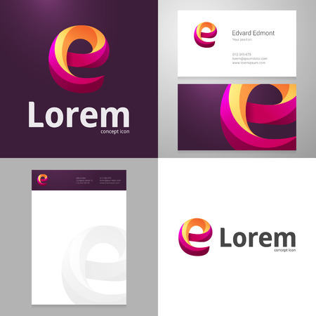 e shopping: Design icon letter E element with Business card and paper template. Layered, editable.