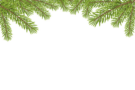 pine decoration: Christmas tree top frame isolated on white background. vector illustration.