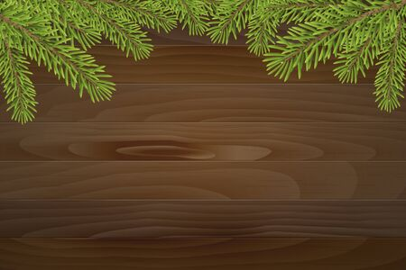 frameworks: Christmas tree top frame on wood plank background. vector illustration. Illustration