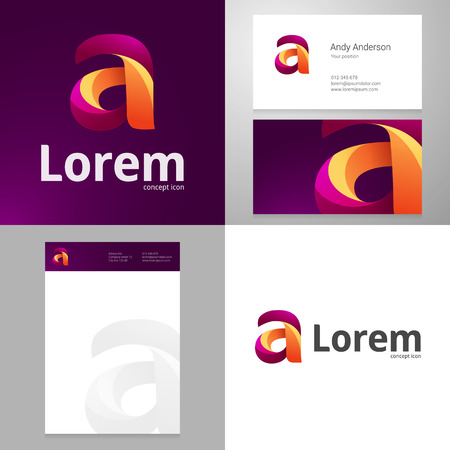 logo element: Design icon letter A element with Business card and paper template. Layered, editable.
