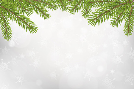 tree isolated: Christmas tree top frame isolated on silver blured background. vector illustration.