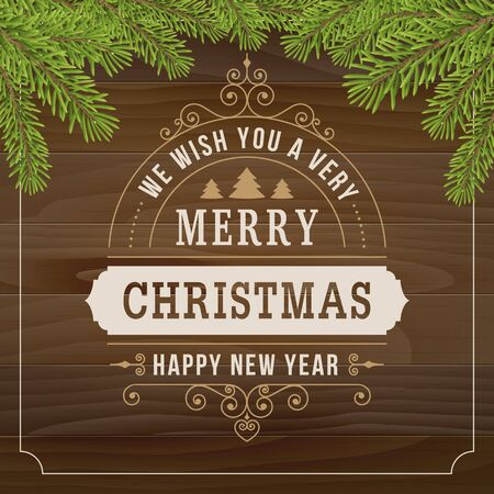 merry christmas vintage line art on wood plank background. vector greeting card.