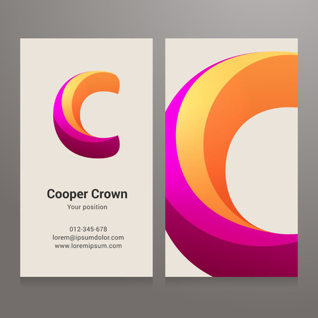 c design: Modern letter C twisted colorful Business card template. Vector design. Layered, editable. Illustration