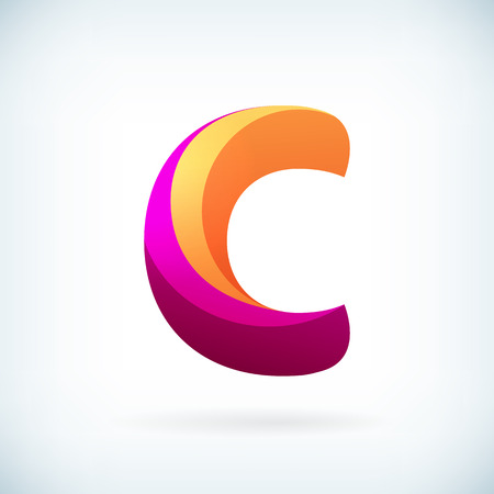 Modern twisted letter c icon design element template