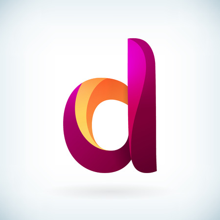 3d alphabet letter abc: Modern twisted letter d icon design element template