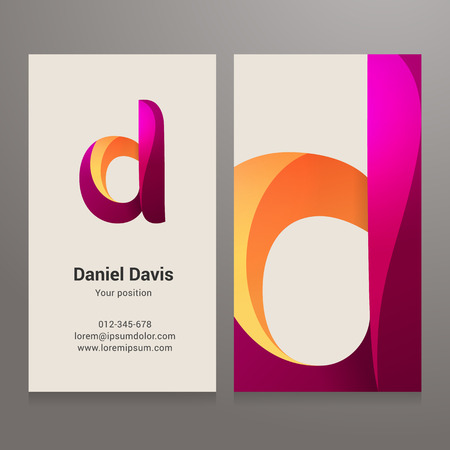 d: Modern letter d twisted colorful Business card template. Vector design. Layered, editable. Illustration