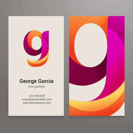 Modern letter g twisted colorful Business card template. Vector design. Layered, editable.  イラスト・ベクター素材