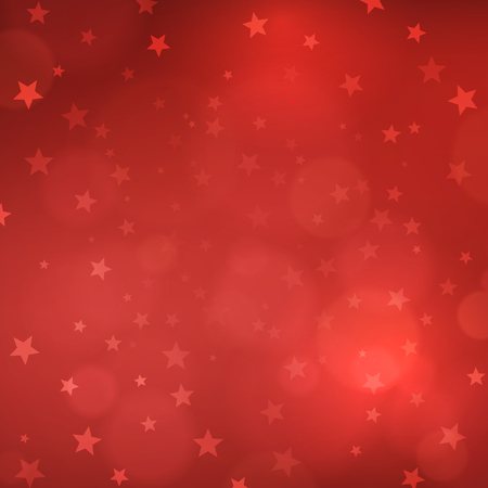 lights: Christmas red blurred background with stars. vector illustration.