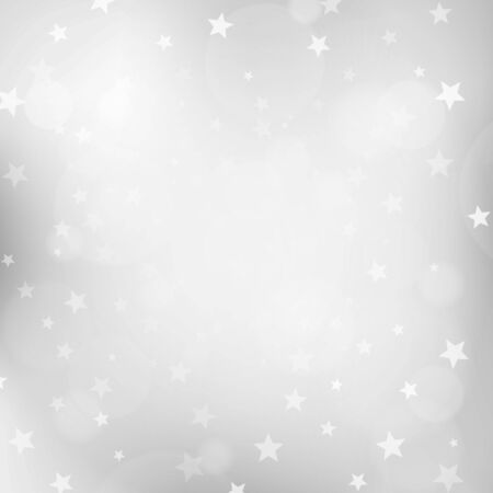 silver background: Christmas silver blurred background with stars. vector illustration. Illustration